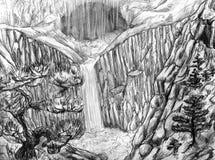 Landschaft mit Wasserfall und Höhle Stockbild