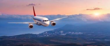 Landschaft mit weißem Flugzeug fliegt in den orange Himmel lizenzfreies stockfoto
