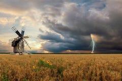 Landschaft mit Weizen-Feldern und Windmil Lizenzfreies Stockfoto