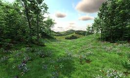 Landschaft mit Wiesen und Hügeln Stockfotos