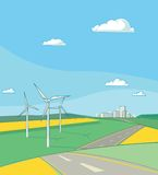 Landschaft mit Wind-Generatoren Stockfotos