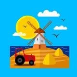 Landschaft mit Windmühle Lizenzfreies Stockfoto