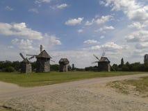Landschaft mit Windmühlen Stockfoto