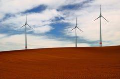 Landschaft mit Windturbinen. Stockbild