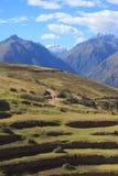 Landschaft nahe Kreisterrassen des alten Inkas an Stockfotos
