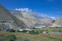 Landschaft nahe Mustang, Kathmandu lizenzfreie stockfotografie