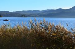 Landschaft am See Orta Lizenzfreies Stockfoto