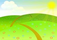 Landschaft. Sonnenunterganghintergrund Lizenzfreies Stockbild