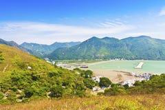 Landschaft Tai-O von den Bergen in Hong Kong Lizenzfreie Stockbilder