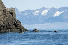 Landschaft trifft das Meer in der Auferstehungs-Bucht, Alaska stockbilder