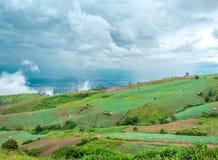 Landschaft um einen Bauernhof mit Hintergrund des blauen Himmels Stockfotos
