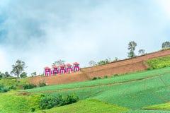 Landschaft um einen Bauernhof mit Hintergrund des blauen Himmels Lizenzfreie Stockfotos