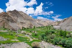 Landschaft um Lamayuru-Kloster in Leh-Bezirk, Indien Stockfotografie