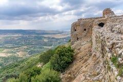 Landschaft und Nimrod Fortress stockfoto