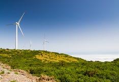 Landschaft und Windkraftanlagen an der Hochebene Paul da Serra, Madeira ist Stockfotografie