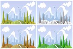 Landschaft in vier Jahreszeiten Lizenzfreie Stockfotos