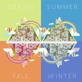 Landschaft in vier Jahreszeiten vektor abbildung