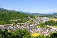 Landschaft von Achi-Dorf in Süd-Nagano, Japan Lizenzfreies Stockbild