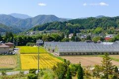 Landschaft von Achi-Dorf in Süd-Nagano, Japan Lizenzfreies Stockfoto