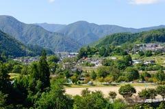 Landschaft von Achi-Dorf in Süd-Nagano, Japan Stockfotos