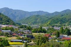 Landschaft von Achi-Dorf in Süd-Nagano, Japan Stockbilder