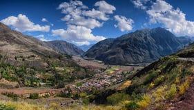 Landschaft von Anden in Cusco Peru Panorama lizenzfreie stockfotos
