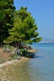 Landschaft von Argostoli mit blauem Meer stockbild