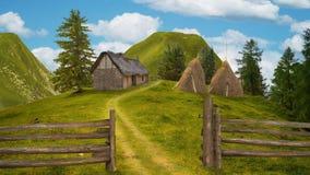 Landschaft von Bergen, eine alte Hütte in der Reinigung Lizenzfreies Stockfoto