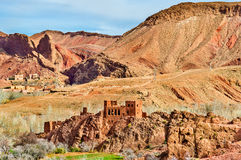 Landschaft von Dades-Tal in den hohen Atlas-Bergen, Marokko stockbilder