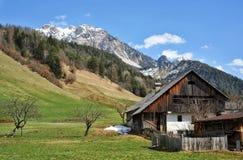 Landschaft von Dolomitbergen im Sommer mit einem Bauernhof und einem meado Lizenzfreie Stockfotografie