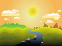 Landschaft von Fluss und von Feld Stockfotos