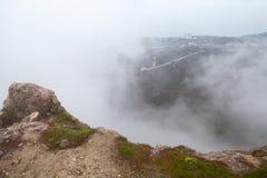 Landschaft von Foros am nebeligen Morgen lizenzfreies stockfoto