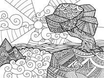Landschaft von geometrischen Elementen mit Linien Antidruckfarbton Stammes- Retro- Gekritzel Sonnenuntergang, Wolken, Berge, Hüge lizenzfreie abbildung