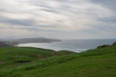Landschaft von grünen Wiesen am Rand des Meeres stockbild