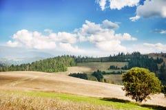 Landschaft von Hügeln und von Bergen Stockfotos