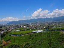 Landschaft von Kofu-Becken in Yamanashi, Japan Stockfotos