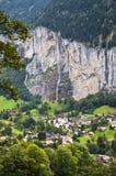 Landschaft von Lauterbrunnen, die Schweiz, Sommerzeit Lizenzfreies Stockbild
