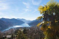 Landschaft von Lugano-` s See stockfoto