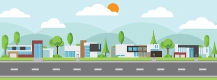 Landschaft von modernen Häusern mit Baum und Wolken und entlang den Straßen vektor abbildung