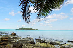 Landschaft von Moturakau-Insel im Aitutaki-Lagunen-Koch Islands Lizenzfreies Stockbild