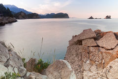 Landschaft von Petrovac-Bucht, adriatisches Meer Lizenzfreies Stockbild