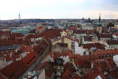 Landschaft von Prag vom astronomischen Glockenturm Stockbild