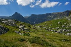 Landschaft von Rila-Berg nahe, die sieben Rila Seen, Bulgariai Lizenzfreies Stockbild