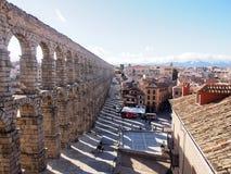 Landschaft von Roman Aqueduct, der berühmte Markstein von Segovia, Spanien Stockfoto