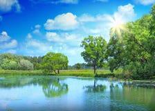 Landschaft von schönem See Stockfotografie