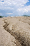 Landschaft von Schlammvulkanen Stockfoto