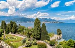 Landschaft von See Maggiore von Borromean-Insel Bella, Italien Lizenzfreie Stockfotos