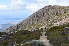 Landschaft von Tasmanien am Berg Wellington Walk in Hobart lizenzfreie stockfotos