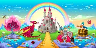 Landschaft von Träumen mit Drachen und Ritter Lizenzfreies Stockbild