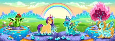 Landschaft von Träumen mit Regenbogen- und Fantasietieren Stockbilder